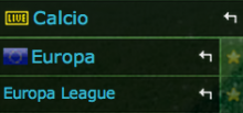 palinsesto live europa league