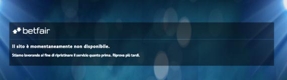sito betfair non disponibile