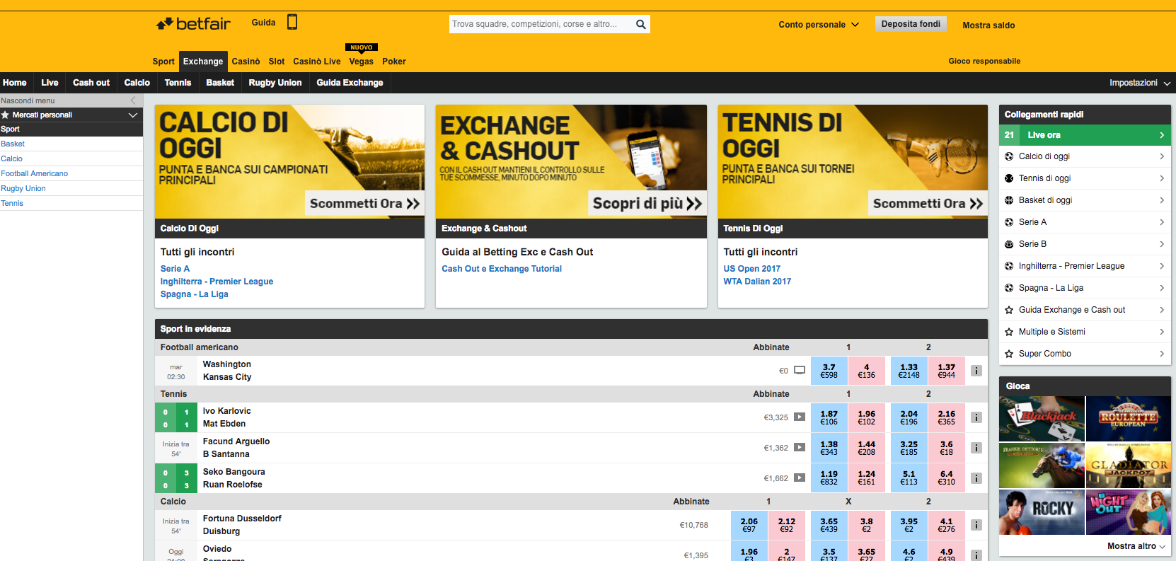 homepage betfair.it